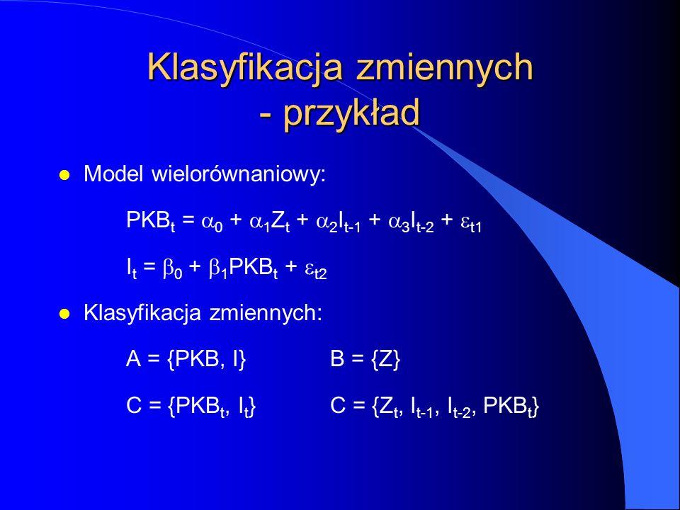 Klasyfikacja zmiennych - przykład l Model wielorównaniowy: PKB t =  0  +  1 Z t +  2 I t-1 +  3 I t-2 +  t1 I t =  0  +  1 PKB t +  t2 l Klasyfikacja zmiennych: A = {PKB, I}B = {Z} C = {PKB t, I t }C = {Z t, I t-1, I t-2, PKB t }