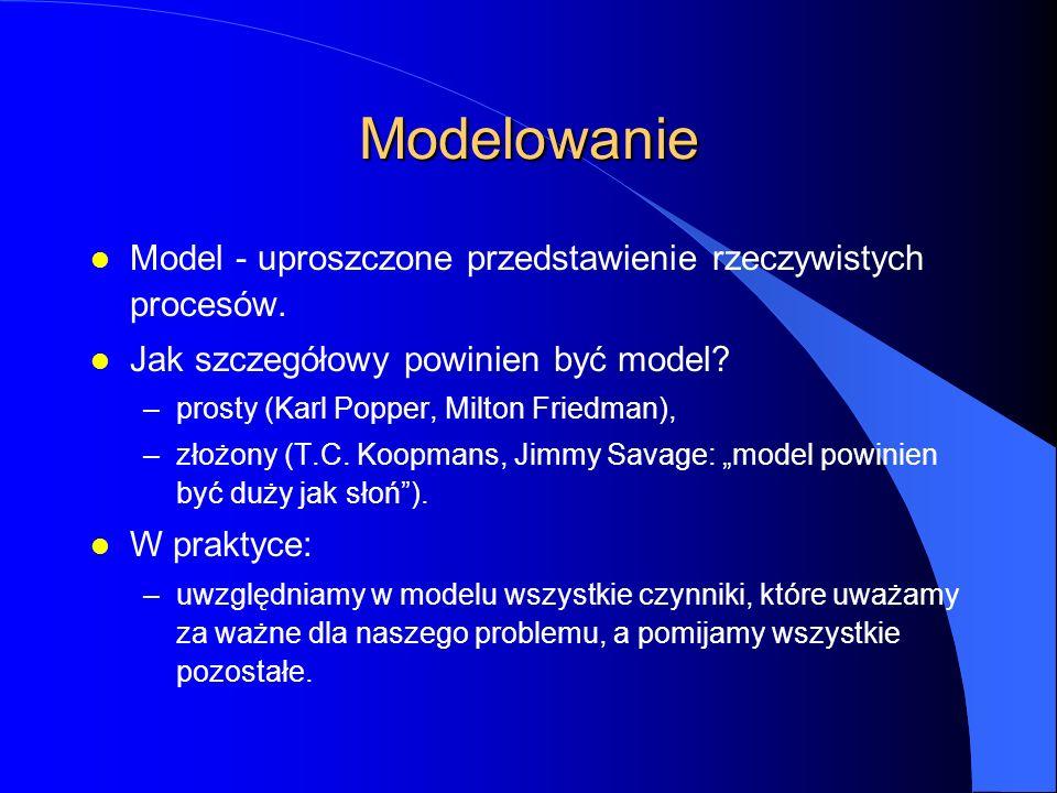 Modelowanie l Model - uproszczone przedstawienie rzeczywistych procesów.