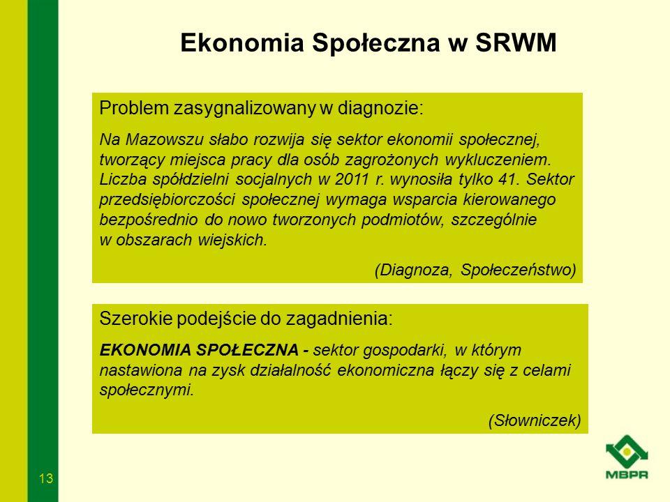 13 Ekonomia Społeczna w SRWM Problem zasygnalizowany w diagnozie: Na Mazowszu słabo rozwija się sektor ekonomii społecznej, tworzący miejsca pracy dla