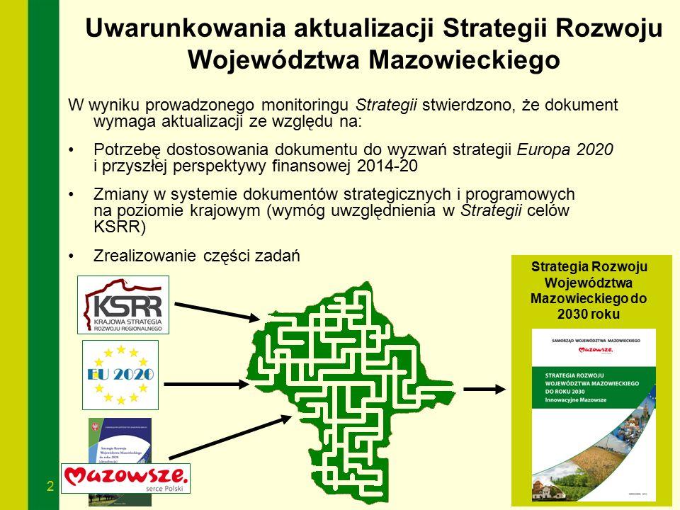 2 Uwarunkowania aktualizacji Strategii Rozwoju Województwa Mazowieckiego Strategia Rozwoju Województwa Mazowieckiego do 2030 roku W wyniku prowadzoneg
