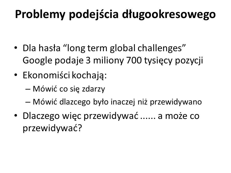 Problemy podejścia długookresowego Dla hasła long term global challenges Google podaje 3 miliony 700 tysięcy pozycji Ekonomiści kochają: – Mówić co się zdarzy – Mówić dlazcego było inaczej niż przewidywano Dlaczego więc przewidywać......