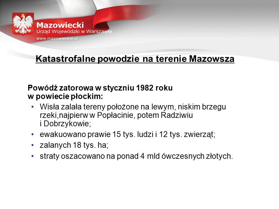Katastrofalne powodzie na terenie Mazowsza Powódź zatorowa w styczniu 1982 roku w powiecie płockim: Wisła zalała tereny położone na lewym, niskim brzegu rzeki,najpierw w Popłacinie, potem Radziwiu i Dobrzykowie; ewakuowano prawie 15 tys.
