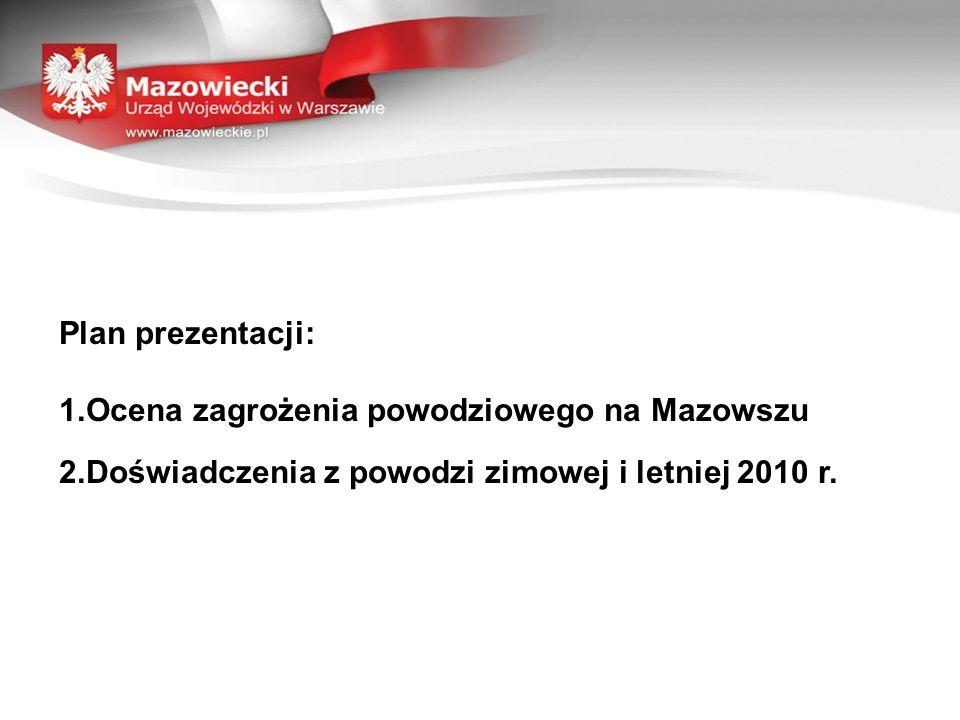 Plan prezentacji: 1.Ocena zagrożenia powodziowego na Mazowszu 2.Doświadczenia z powodzi zimowej i letniej 2010 r.