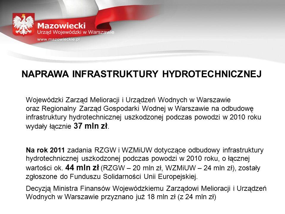 NAPRAWA INFRASTRUKTURY HYDROTECHNICZNEJ Wojewódzki Zarząd Melioracji i Urządzeń Wodnych w Warszawie oraz Regionalny Zarząd Gospodarki Wodnej w Warszawie na odbudowę infrastruktury hydrotechnicznej uszkodzonej podczas powodzi w 2010 roku wydały łącznie 37 mln zł.