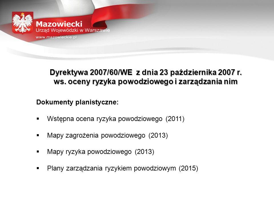 Dyrektywa 2007/60/WE z dnia 23 października 2007 r. ws. oceny ryzyka powodziowego i zarządzania nim Dokumenty planistyczne:  Wstępna ocena ryzyka pow