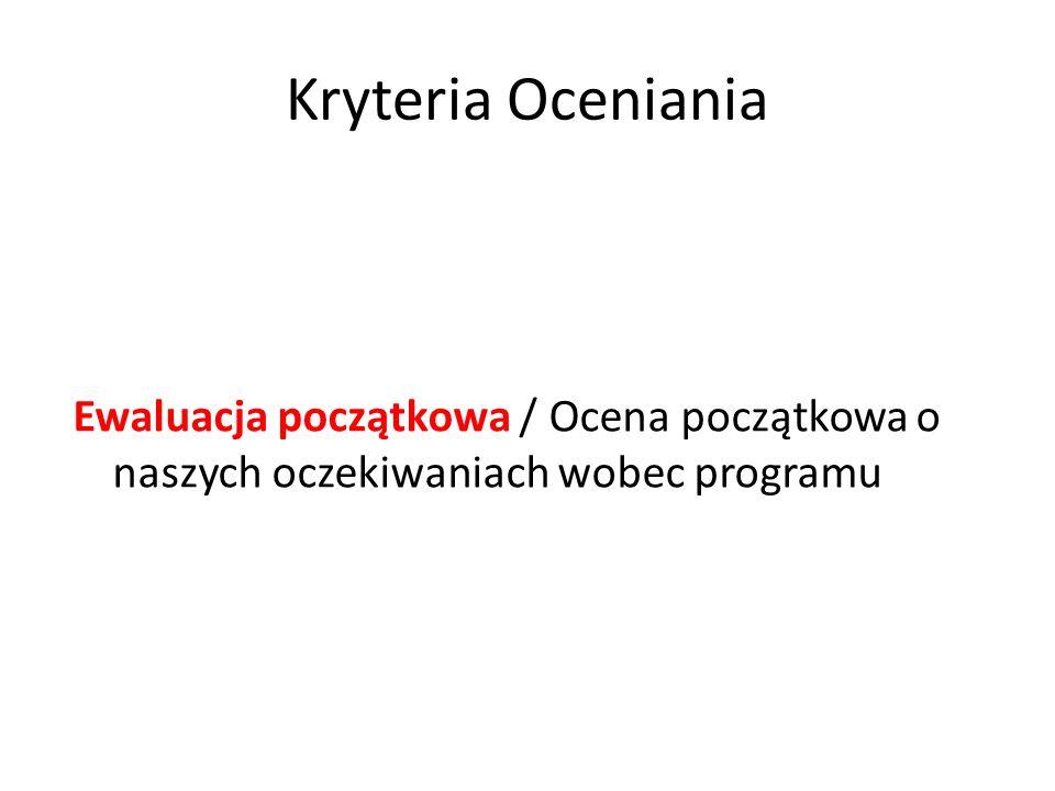 Kryteria Oceniania Ewaluacja początkowa / Ocena początkowa o naszych oczekiwaniach wobec programu