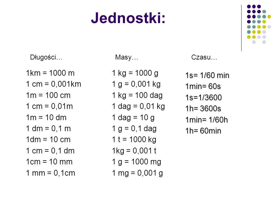 Jednostki: 1km = 1000 m 1 cm = 0,001km 1m = 100 cm 1 cm = 0,01m 1m = 10 dm 1 dm = 0,1 m 1dm = 10 cm 1 cm = 0,1 dm 1cm = 10 mm 1 mm = 0,1cm 1 kg = 1000
