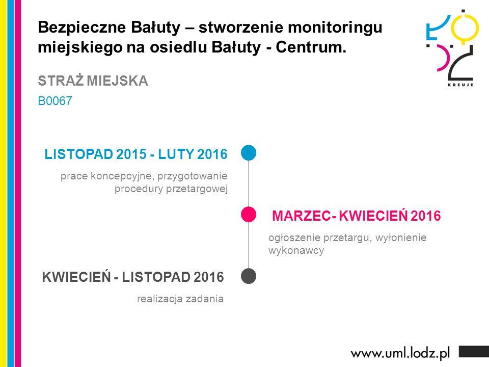 LISTOPAD 2015 - LUTY 2016 prace koncepcyjne, przygotowanie procedury przetargowej MARZEC- KWIECIEŃ 2016 ogłoszenie przetargu, wyłonienie wykonawcy KWI