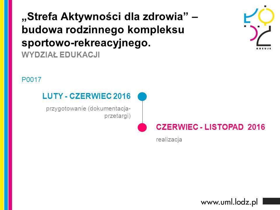 """LUTY - CZERWIEC 2016 przygotowanie (dokumentacja- przetargi) CZERWIEC - LISTOPAD 2016 realizacja """"Strefa Aktywności dla zdrowia"""" – budowa rodzinnego k"""