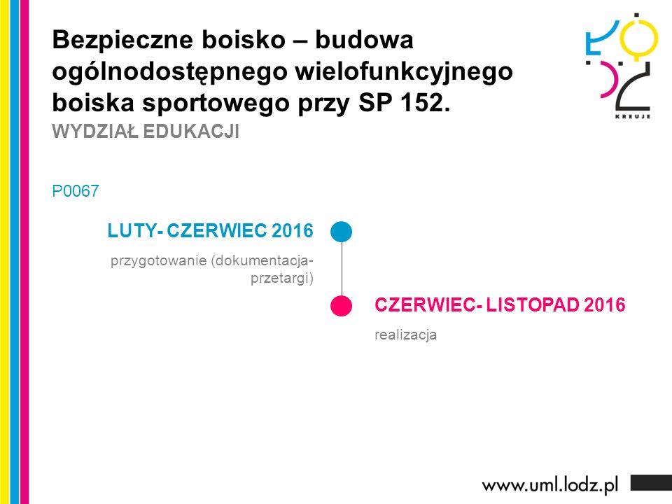 LUTY- CZERWIEC 2016 przygotowanie (dokumentacja- przetargi) CZERWIEC- LISTOPAD 2016 realizacja Bezpieczne boisko – budowa ogólnodostępnego wielofunkcy