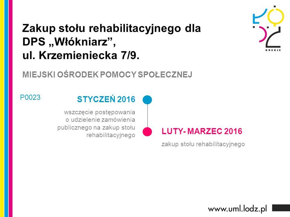 STYCZEŃ 2016 wszczęcie postępowania o udzielenie zamówienia publicznego na zakup stołu rehabilitacyjnego LUTY- MARZEC 2016 zakup stołu rehabilitacyjne