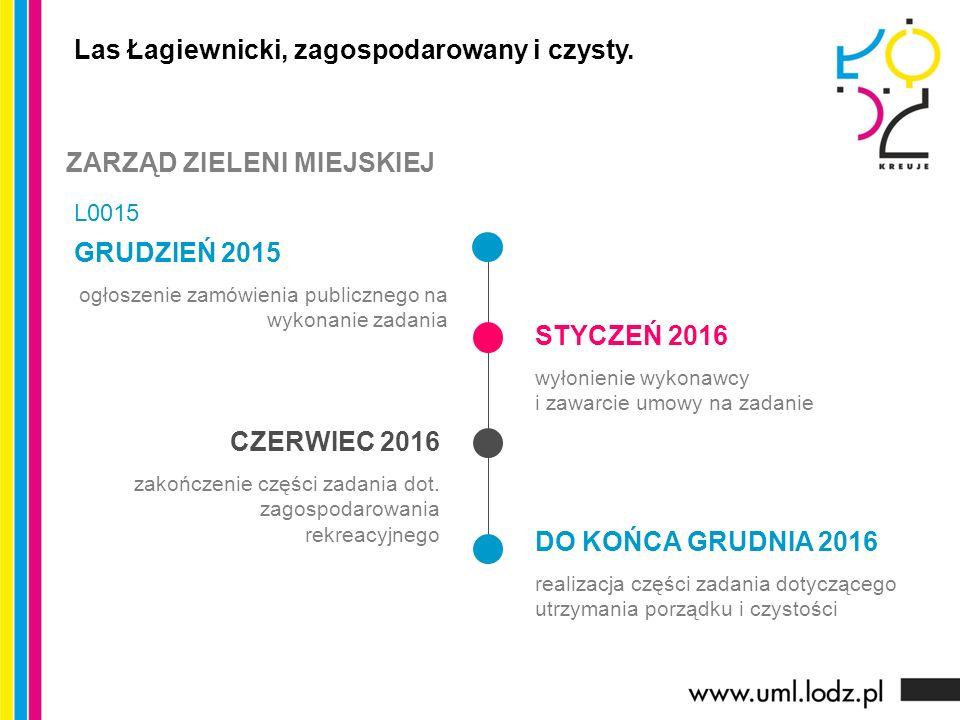 GRUDZIEŃ 2015 ogłoszenie zamówienia publicznego na wykonanie zadania STYCZEŃ 2016 wyłonienie wykonawcy i zawarcie umowy na zadanie CZERWIEC 2016 zakoń