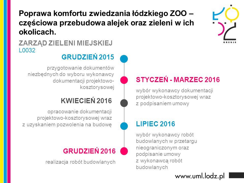 GRUDZIEŃ 2015 przygotowanie dokumentów niezbędnych do wyboru wykonawcy dokumentacji projektowo- kosztorysowej STYCZEŃ - MARZEC 2016 wybór wykonawcy do