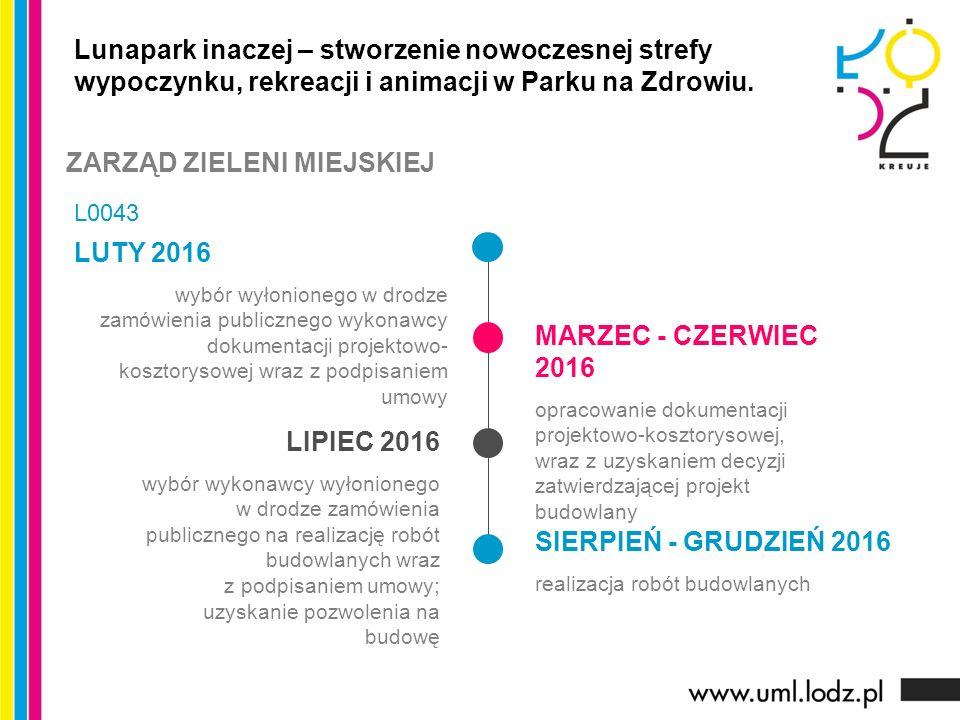 LUTY 2016 wybór wyłonionego w drodze zamówienia publicznego wykonawcy dokumentacji projektowo- kosztorysowej wraz z podpisaniem umowy MARZEC - CZERWIE
