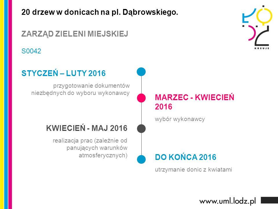 STYCZEŃ – LUTY 2016 przygotowanie dokumentów niezbędnych do wyboru wykonawcy MARZEC - KWIECIEŃ 2016 wybór wykonawcy KWIECIEŃ - MAJ 2016 realizacja pra