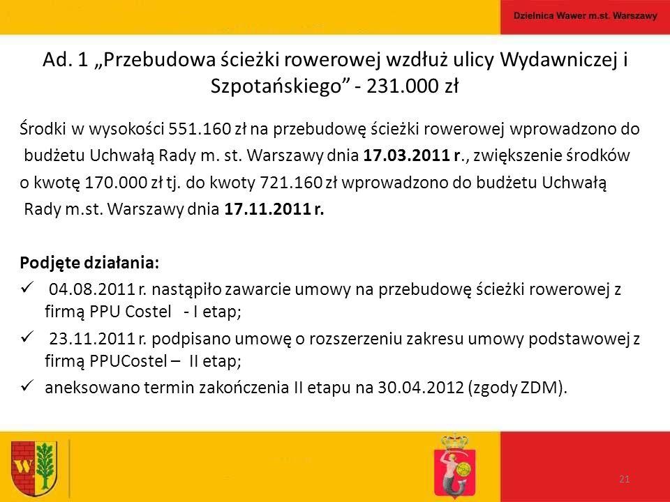 """Ad. 1 """"Przebudowa ścieżki rowerowej wzdłuż ulicy Wydawniczej i Szpotańskiego"""" - 231.000 zł Środki w wysokości 551.160 zł na przebudowę ścieżki rowerow"""
