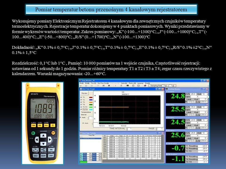 Pomiar temperatur betonu przenośnym 4 kanałowym rejestratorem Wykonujemy pomiary Elektronicznym Rejestratorem 4 kanałowym dla zewnętrznych czujników temperatury termoelektrycznych.