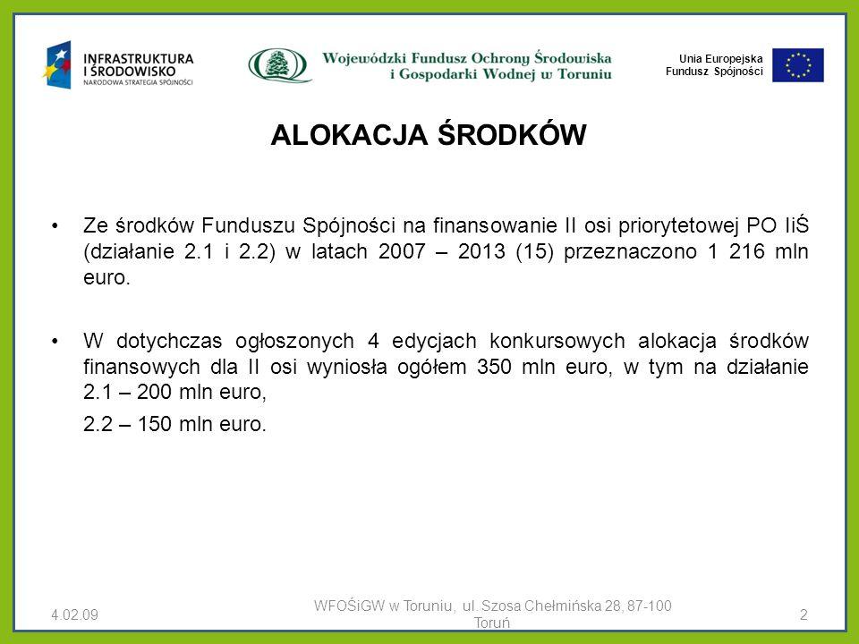 Unia Europejska Fundusz Spójności ALOKACJA ŚRODKÓW Ze środków Funduszu Spójności na finansowanie II osi priorytetowej PO IiŚ (działanie 2.1 i 2.2) w latach 2007 – 2013 (15) przeznaczono 1 216 mln euro.