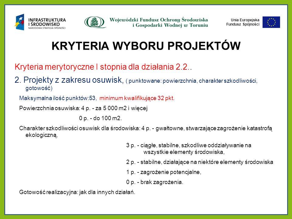 Unia Europejska Fundusz Spójności KRYTERIA WYBORU PROJEKTÓW Kryteria merytoryczne I stopnia dla działania 2.2..