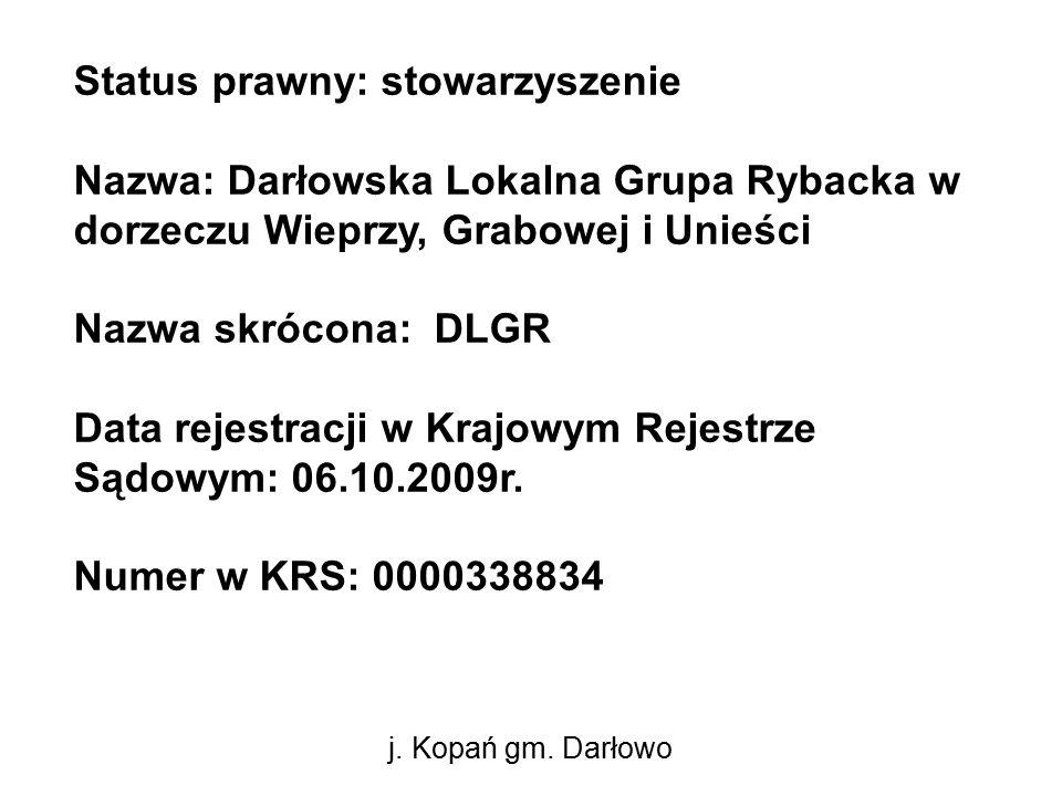 Status prawny: stowarzyszenie Nazwa: Darłowska Lokalna Grupa Rybacka w dorzeczu Wieprzy, Grabowej i Unieści Nazwa skrócona: DLGR Data rejestracji w Krajowym Rejestrze Sądowym: 06.10.2009r.