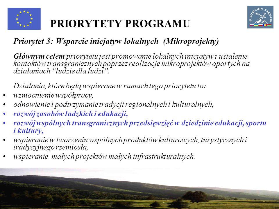 15 PRIORYTETY PROGRAMU Priorytet 3: Wsparcie inicjatyw lokalnych (Mikroprojekty) Głównym celem priorytetu jest promowanie lokalnych inicjatyw i ustalenie kontaktów transgranicznych poprzez realizację mikroprojektów opartych na działaniach ludzie dla ludzi .