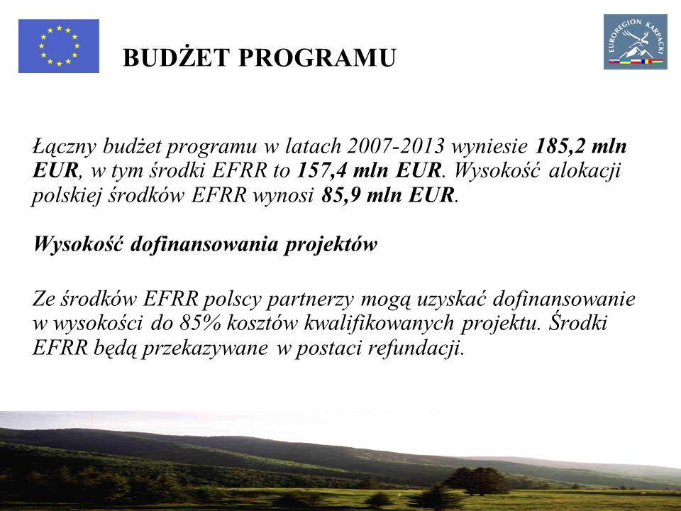 16 BUDŻET PROGRAMU Łączny budżet programu w latach 2007-2013 wyniesie 185,2 mln EUR, w tym środki EFRR to 157,4 mln EUR.