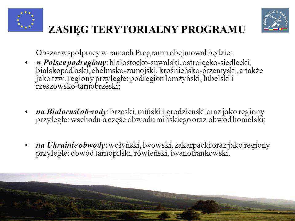 19 ZASIĘG TERYTORIALNY PROGRAMU Obszar współpracy w ramach Programu obejmował będzie: w Polsce podregiony: białostocko-suwalski, ostrołęcko-siedlecki, bialskopodlaski, chełmsko-zamojski, krośnieńsko-przemyski, a także jako tzw.