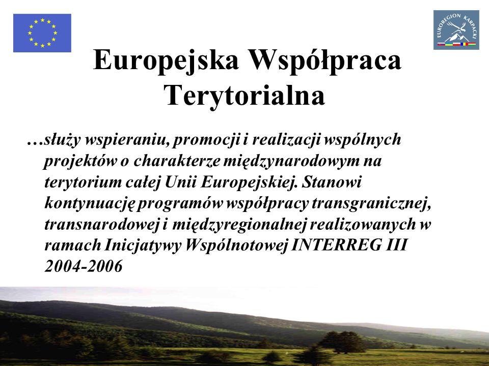 8 Europejska Współpraca Terytorialna wdrażana będzie za pomocą 3 typów programów operacyjnych: - współpracy transgranicznej, której celem jest rozwijanie wspólnych inicjatyw lokalnych i regionalnych, - współpracy transnarodowej, ukierunkowanej na integrację terytorialną Unii Europejskiej poprzez wspieranie dostępności, zrównoważonego rozwoju obszarów miejskich, innowacyjność i ochronę środowiska naturalnego, - współpracy międzyregionalnej, umożliwiającej wymianę doświadczeń i najlepszych praktyk w zakresie m.in.