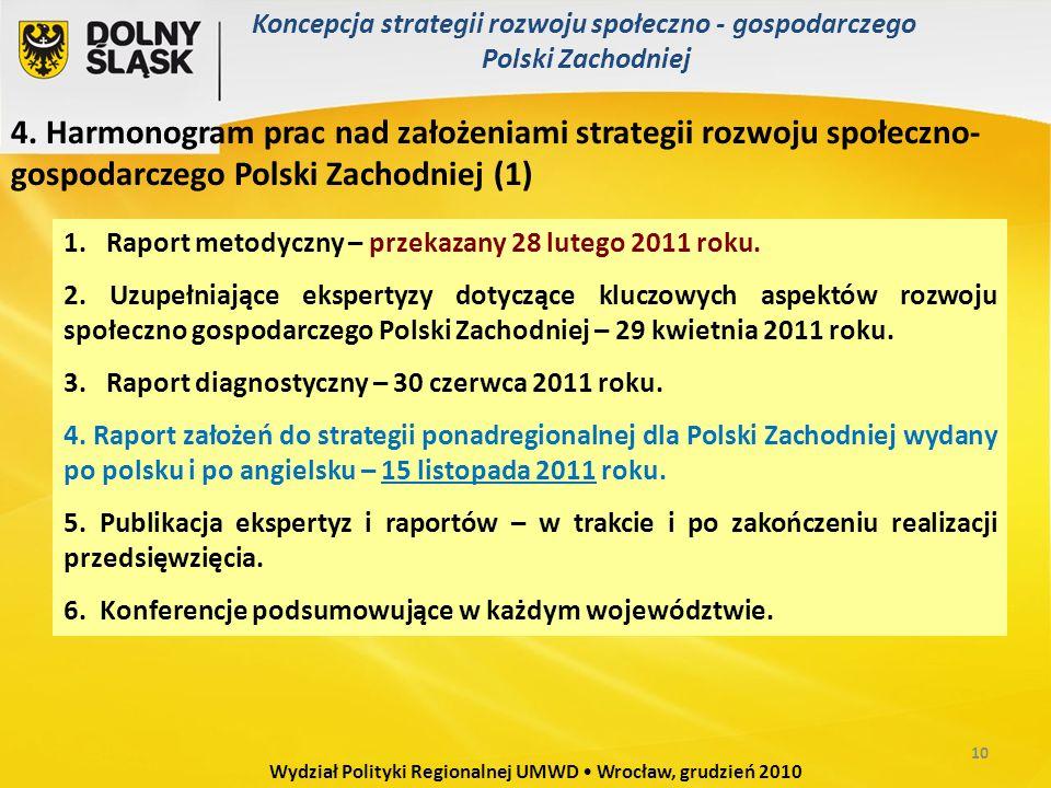 4. Harmonogram prac nad założeniami strategii rozwoju społeczno- gospodarczego Polski Zachodniej (1) 1. Raport metodyczny – przekazany 28 lutego 2011