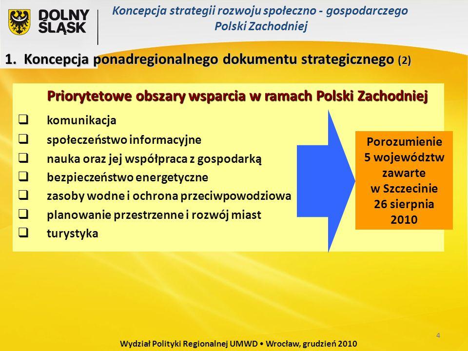 1. Koncepcja ponadregionalnego dokumentu strategicznego (2) Priorytetowe obszary wsparcia w ramach Polski Zachodniej  komunikacja  społeczeństwo inf