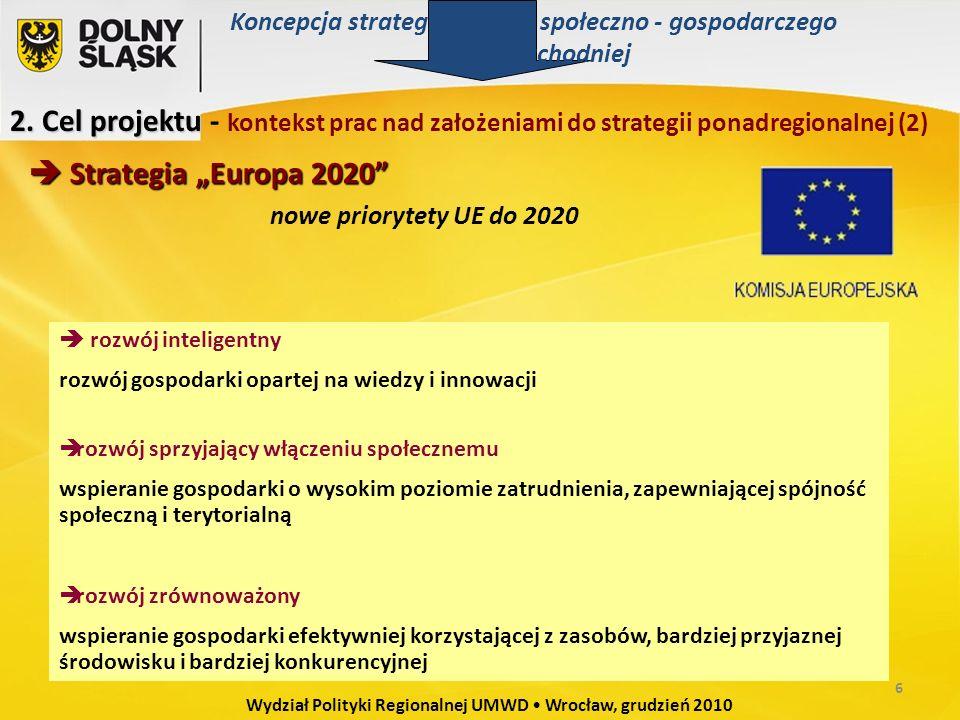 """nowe priorytety UE do 2020  Strategia """"Europa 2020  rozwój inteligentny rozwój gospodarki opartej na wiedzy i innowacji  rozwój sprzyjający włączeniu społecznemu wspieranie gospodarki o wysokim poziomie zatrudnienia, zapewniającej spójność społeczną i terytorialną  rozwój zrównoważony wspieranie gospodarki efektywniej korzystającej z zasobów, bardziej przyjaznej środowisku i bardziej konkurencyjnej 2."""