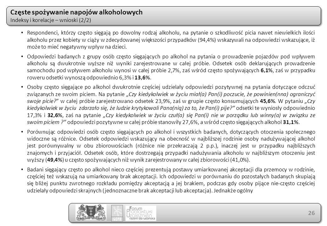 Częste spożywanie napojów alkoholowych Indeksy i korelacje – wnioski (2/2) Częste spożywanie napojów alkoholowych Indeksy i korelacje – wnioski (2/2)
