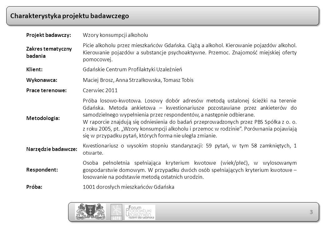 Charakterystyka projektu badawczego 3 Projekt badawczy:Wzory konsumpcji alkoholu Zakres tematyczny badania Picie alkoholu przez mieszkańców Gdańska.