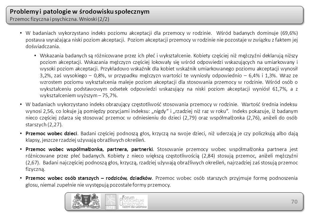 Problemy i patologie w środowisku społecznym Przemoc fizyczna i psychiczna. Wnioski (2/2) Problemy i patologie w środowisku społecznym Przemoc fizyczn