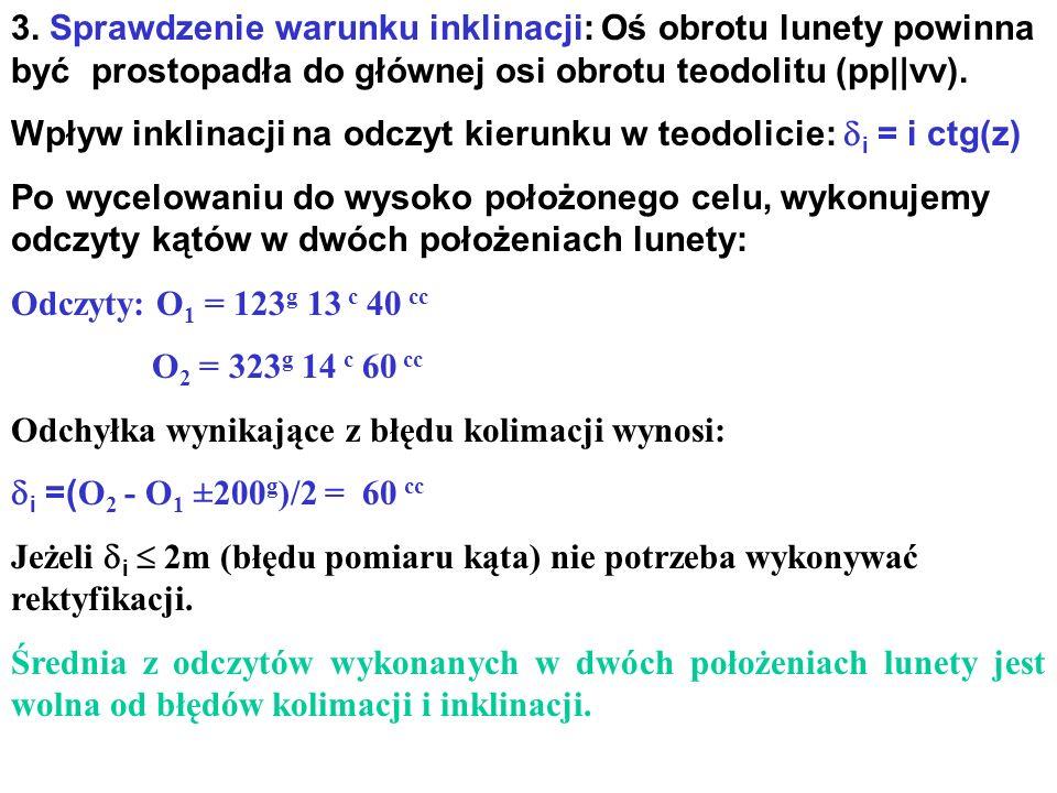3. Sprawdzenie warunku inklinacji: Oś obrotu lunety powinna być prostopadła do głównej osi obrotu teodolitu (pp||vv). Wpływ inklinacji na odczyt kieru