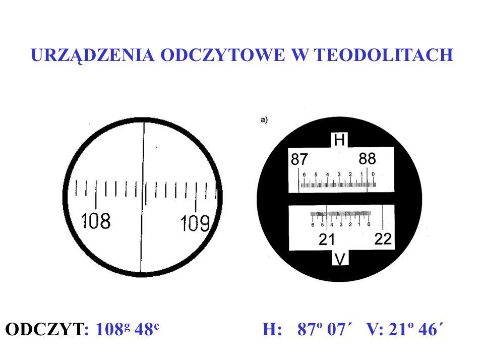 URZĄDZENIA ODCZYTOWE W TEODOLITACH ODCZYT: 108 g 48 c H: 87º 07´ V: 21º 46´