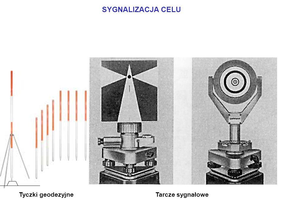 SYGNALIZACJA CELU Tarcze sygnałowe Tyczki geodezyjne