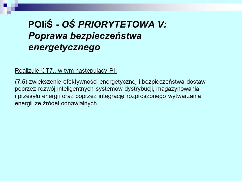 POIiŚ - OŚ PRIORYTETOWA V: Poprawa bezpieczeństwa energetycznego Realizuje CT7., w tym następujący PI: (7.5) zwiększenie efektywności energetycznej i