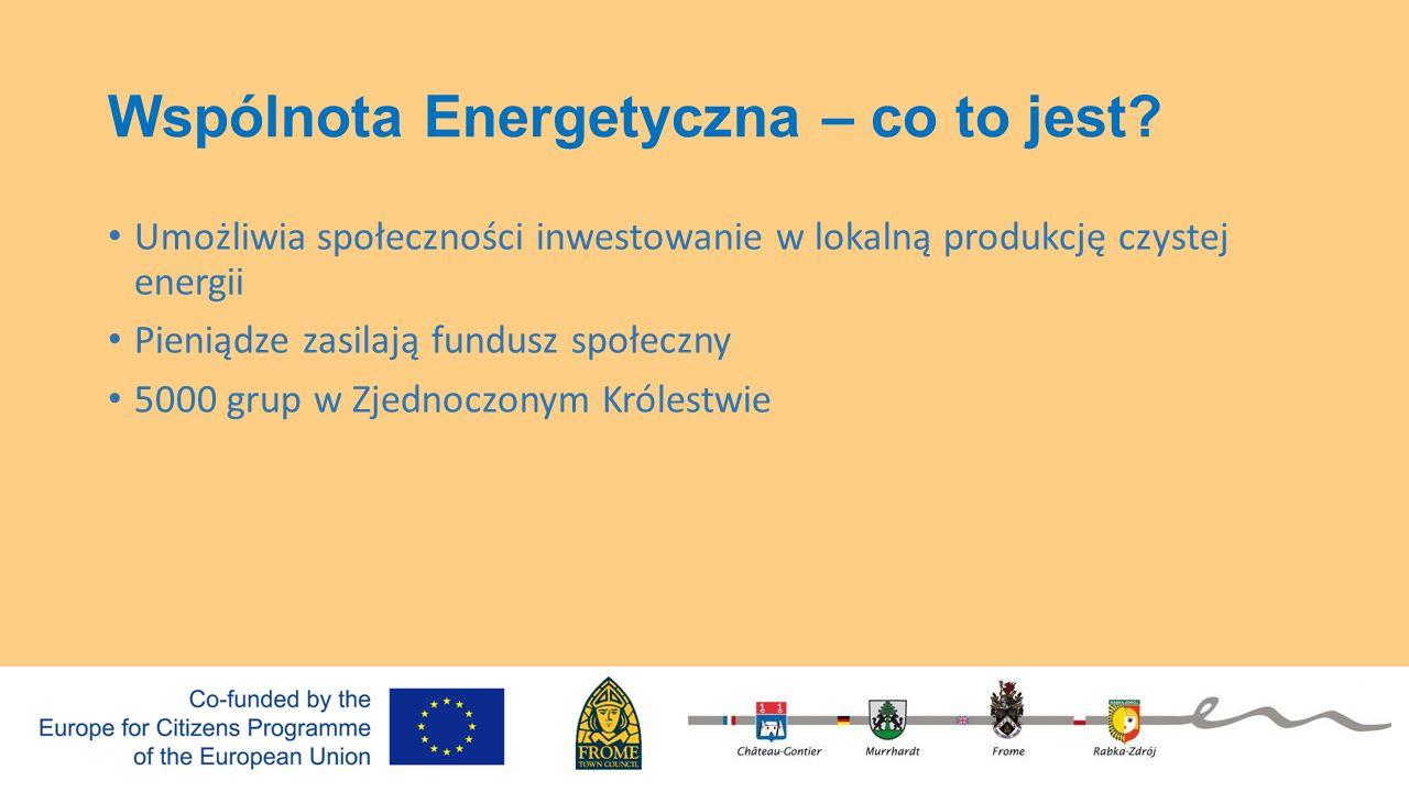 Wspólnota Energetyczna – co to jest? Umożliwia społeczności inwestowanie w lokalną produkcję czystej energii Pieniądze zasilają fundusz społeczny 5000