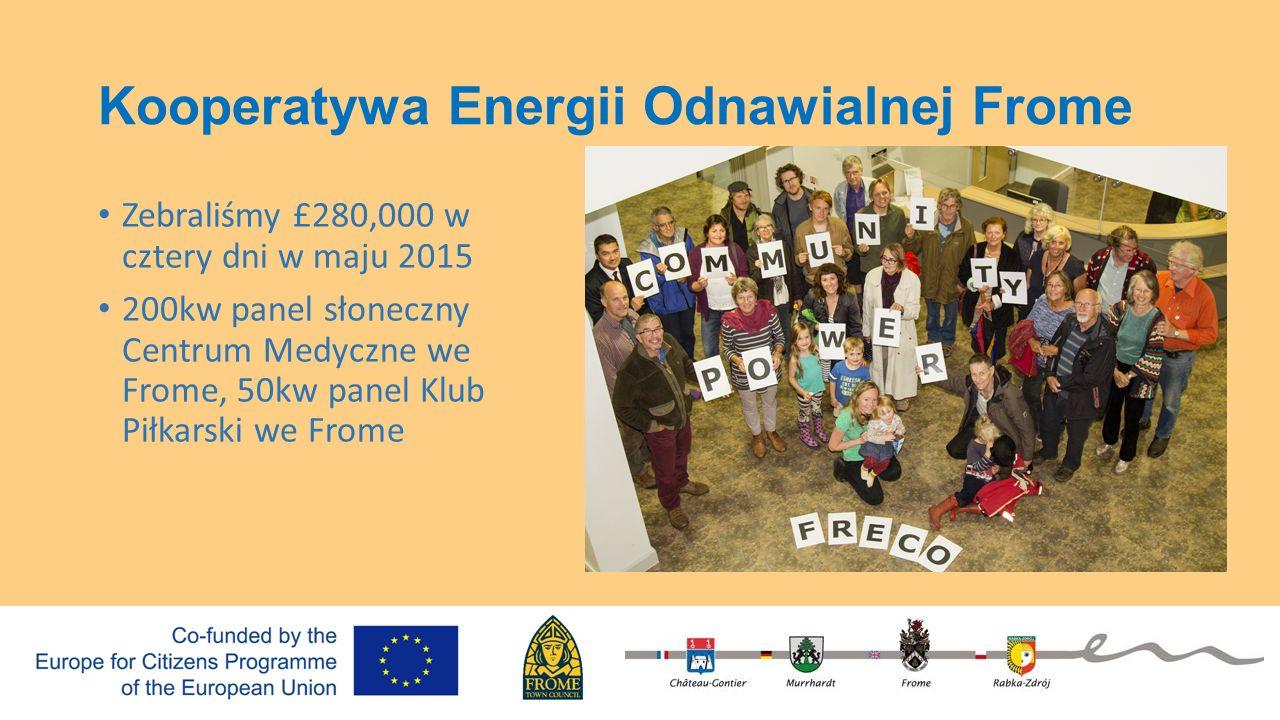 Kooperatywa Energii Odnawialnej Frome Zebraliśmy £280,000 w cztery dni w maju 2015 200kw panel słoneczny Centrum Medyczne we Frome, 50kw panel Klub Pi
