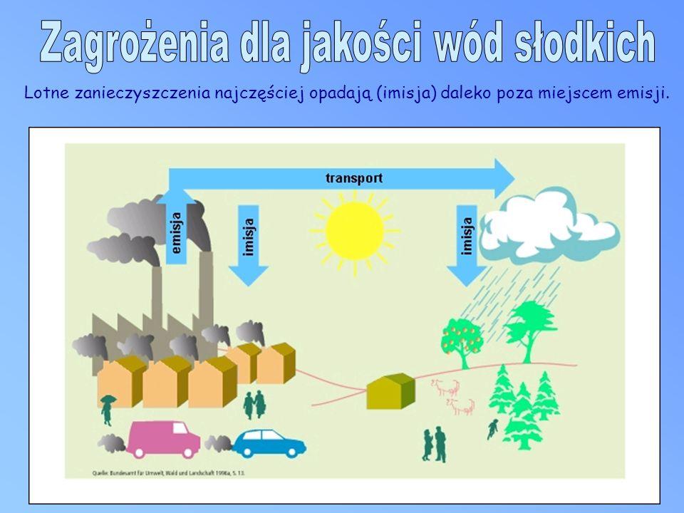Lotne zanieczyszczenia najczęściej opadają (imisja) daleko poza miejscem emisji.
