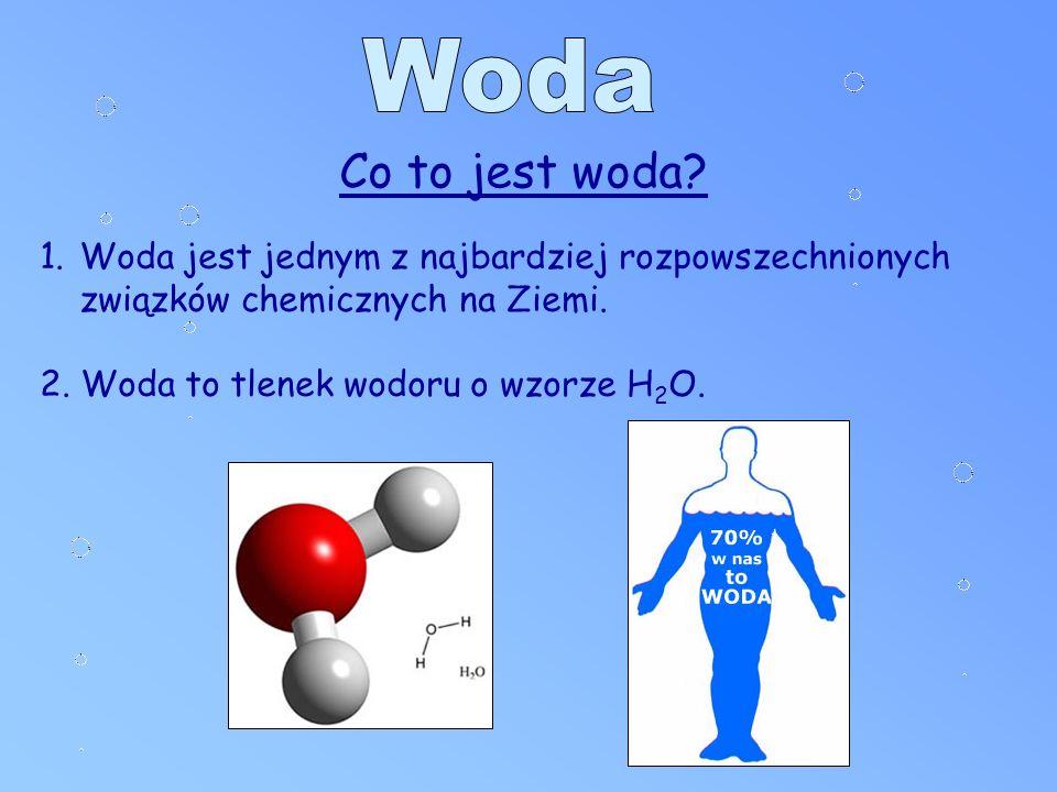 Co to jest woda. 1.Woda jest jednym z najbardziej rozpowszechnionych związków chemicznych na Ziemi.