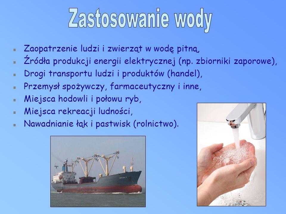 n Zaopatrzenie ludzi i zwierząt w wodę pitną, n Źródła produkcji energii elektrycznej (np.