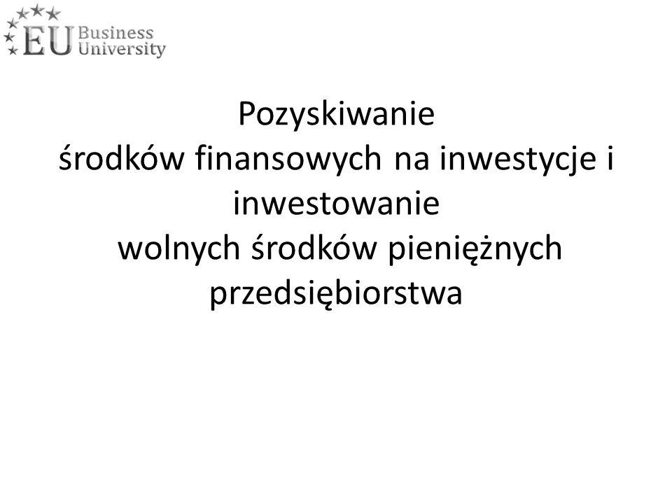 Pozyskiwanie środków finansowych na inwestycje i inwestowanie wolnych środków pieniężnych przedsiębiorstwa