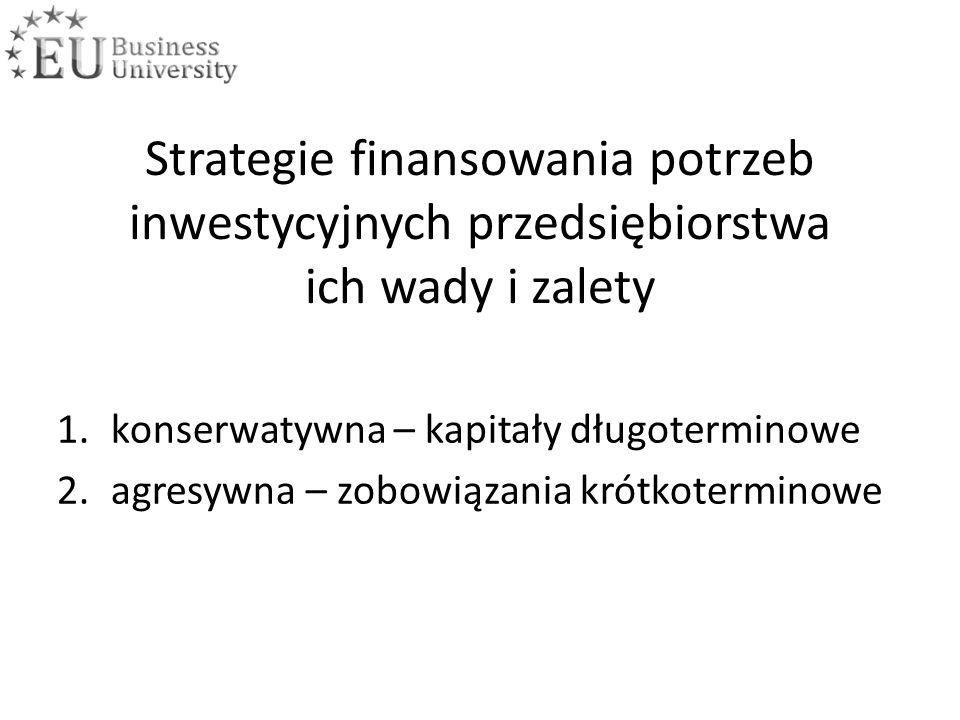 Strategie finansowania potrzeb inwestycyjnych przedsiębiorstwa ich wady i zalety 1.konserwatywna – kapitały długoterminowe 2.agresywna – zobowiązania krótkoterminowe