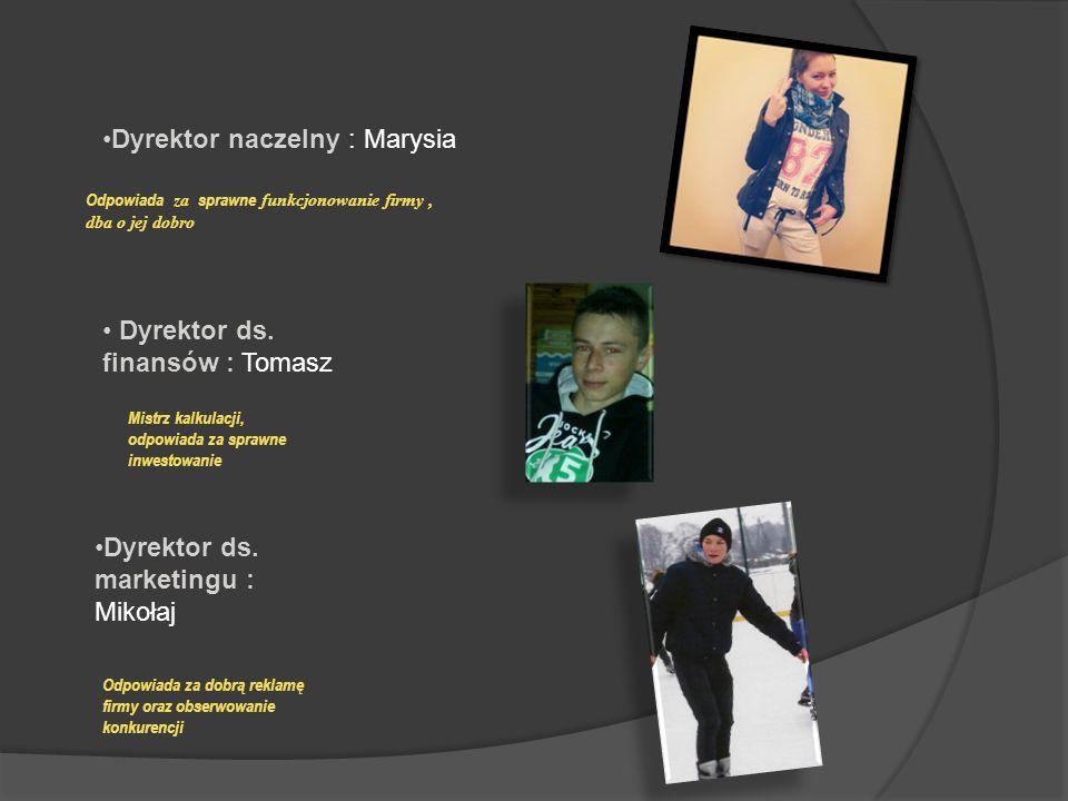 Dyrektor naczelny : Marysia Dyrektor ds. finansów : Tomasz Dyrektor ds.