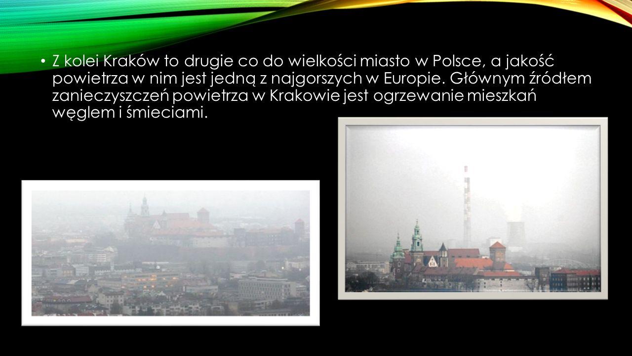 Z kolei Kraków to drugie co do wielkości miasto w Polsce, a jakość powietrza w nim jest jedną z najgorszych w Europie. Głównym źródłem zanieczyszczeń