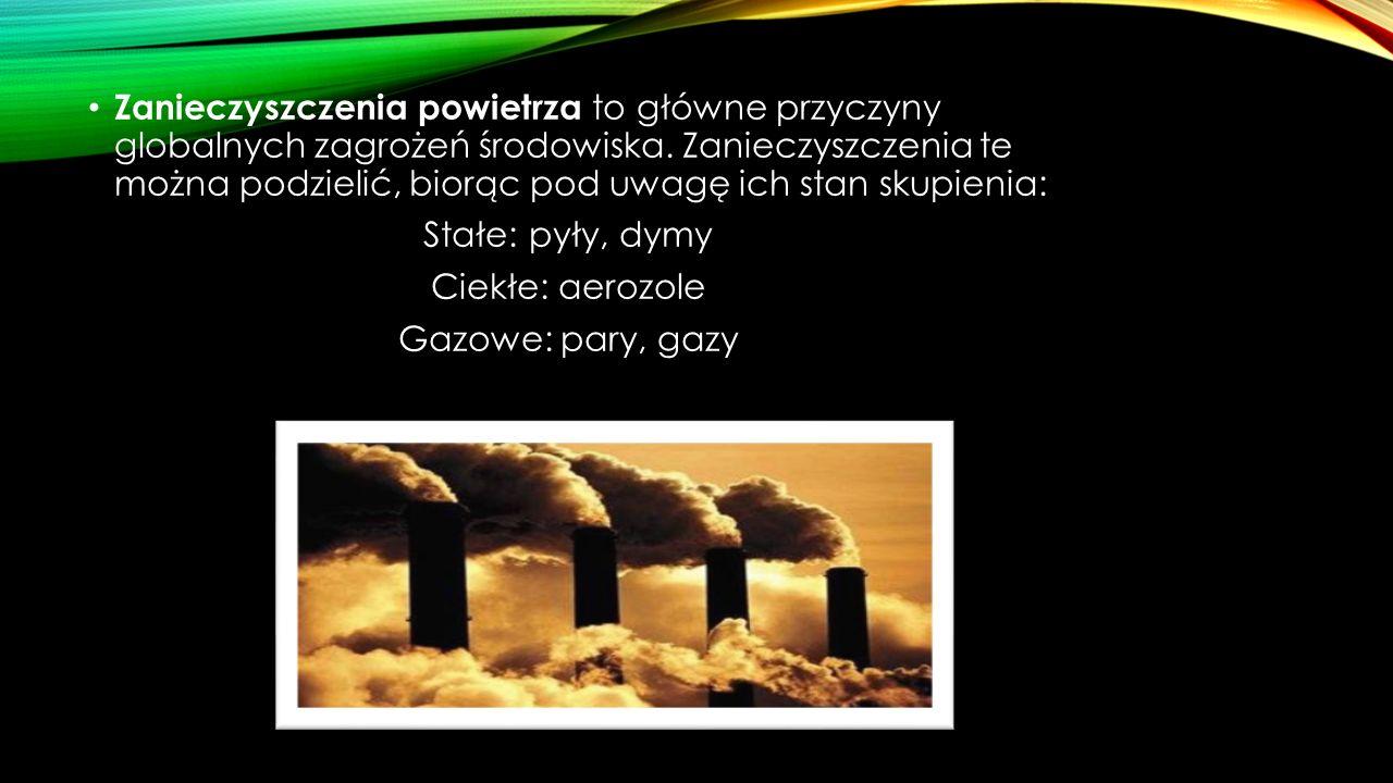 Stałe zanieczyszczenia powietrza powstają głównie w okolicach fabryk, hut, cementowni, dróg i autostrad.