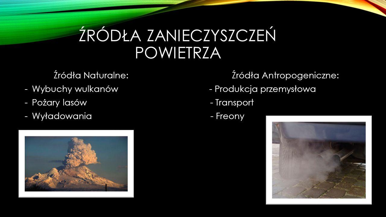 ŹRÓDŁA ZANIECZYSZCZEŃ POWIETRZA Źródła Naturalne: Źródła Antropogeniczne: -Wybuchy wulkanów - Produkcja przemysłowa -Pożary lasów - Transport -Wyładow