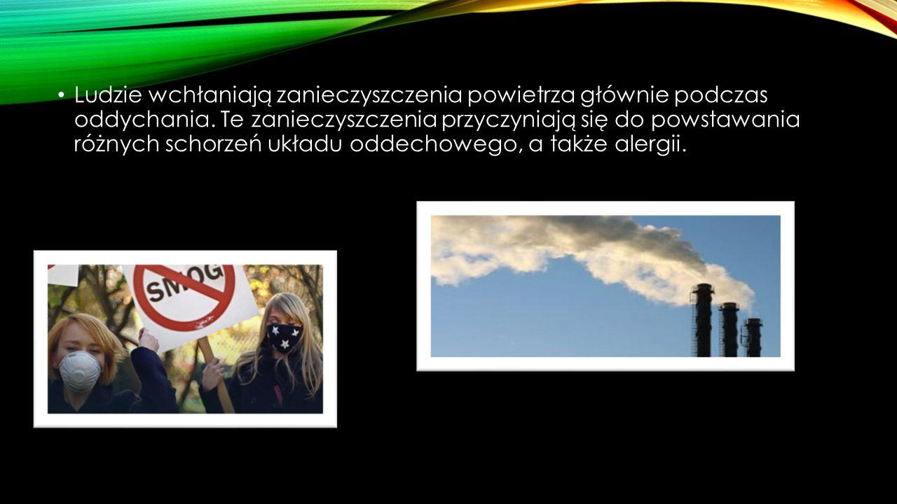 ZANIECZYSZCZENIA POWIETRZA W POLSCE Zbyt duże zanieczyszczenie powietrza występuje na ponad 20% powierzchni Polski.
